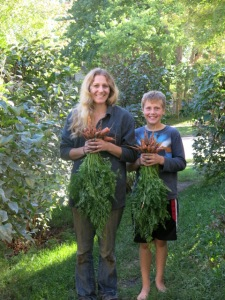 Henry and me and are carrots bouquets. My son is a good helper in the field, forest and garden.
