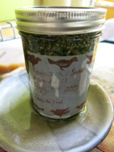 Infused Yarrow oil on saucer to prevent mess